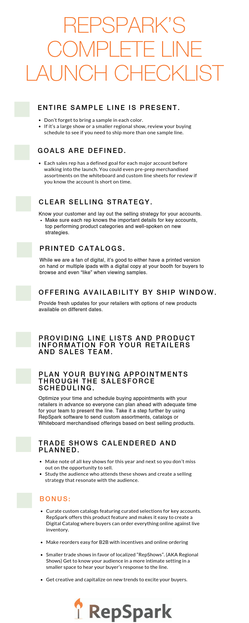 RepSpark's Complete Line Launch Checklist
